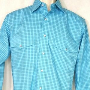 Wrangler Pearl Snap Shirt Western Cowboy Size S